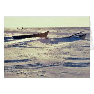 Small Kotzebue Boats at Kotzebue Sound in Winter Card