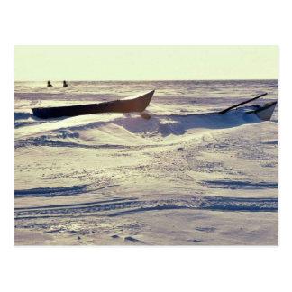 Small Kotzebue Boats at Kotzebue Sound in Winter Postcard