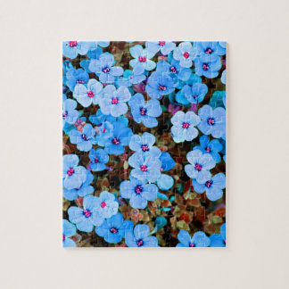 Small Lite Blue Flowers Jigsaw Puzzle