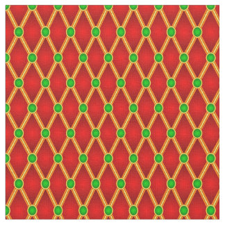 Small Lozenges Red/Green Fabric