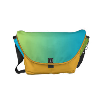 "Small Messenger Bag: ""BLUE GREEN OMBRE & SAFFRON"" Commuter Bags"