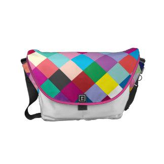 "Small Messenger Bag: ""MULTI COLORED GEOMETRIC"" Commuter Bag"