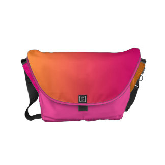 "Small Messenger Bag: ""PINK & ORANGE OMBRE"" Courier Bags"