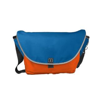 "Small Messenger Bag: ""SAPPHIRE BLUE & ORANGE"" Messenger Bag"
