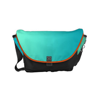 "Small Messenger Bag: ""TURQUOISE OMBRE & BLACK"" Messenger Bag"