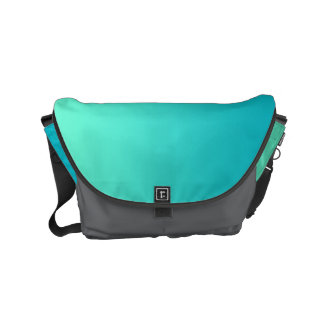 "Small Messenger Bag: ""TURQUOISE OMBRE & GRAY"" Commuter Bags"