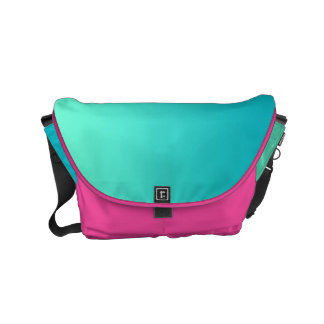 "Small Messenger Bag: ""TURQUOISE OMBRE & PINK"" Messenger Bags"