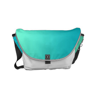"Small Messenger Bag: ""TURQUOISE OMBRE & WHITE"" Courier Bags"