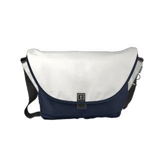 "Small Messenger Bag: ""WHITE & MIDNIGHT BLUE"" Commuter Bag"