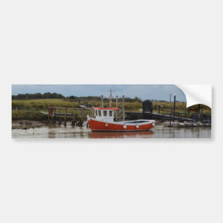 Small Orange Fishing Boat Bumper Sticker