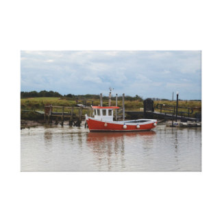 Small Orange Fishing Boat Canvas Stretched Canvas Print