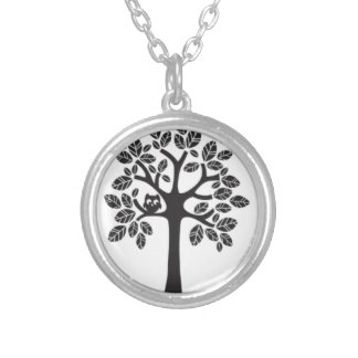 Small Owl in a Big Tree Silver Plated Necklace