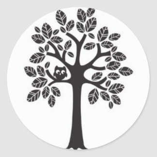 Small Owl in a Big Tree Round Sticker