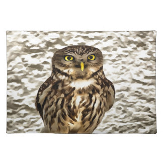 Small Owl In Camouflage Placemats