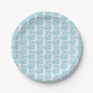 Small paper plate with aqua pitcher design