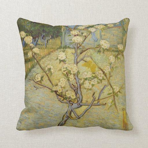 Small pear tree in blossom American MoJo Pillow