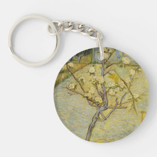 Small pear tree in blossom Double-Sided round acrylic key ring