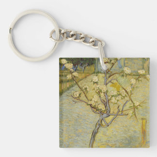 Small pear tree in blossom Double-Sided square acrylic key ring