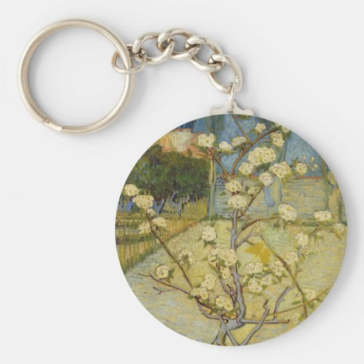 Small pear tree in blossom Keychain