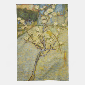 Small pear tree in blossom Kitchen Towel