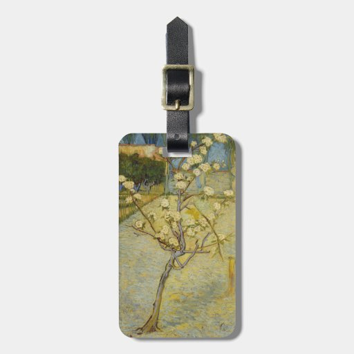 Small pear tree in blossom travel bag tags