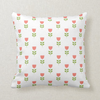 Small Pink and Green Tulips on White Cushion