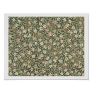 Small pink and white flower wallpaper design poster