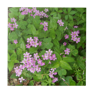 Small pink delicate wildflowers ceramic tile