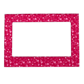 Small pink flowers magnetic picture frame