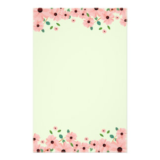 Small Pink Summer Flower Borders Stationery