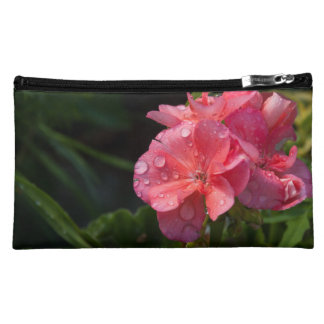 small pocket, pink flower makeup bag