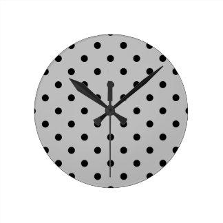 Small Polka Dots - Black on Light Gray Round Clock