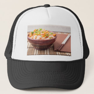 Small portion of rice vermicelli hu-teu trucker hat