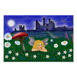 Small poster cute fairy, flowers, castle stars