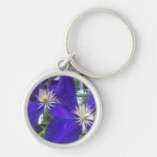 """Small Premium Round Keychain 1.44"""" w/violets"""