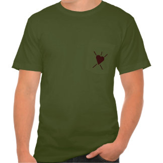 Small radiant red heart symbol is just enough shirts
