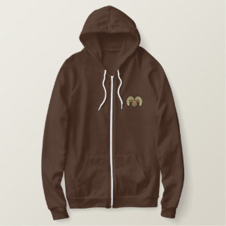 Small Ram Head Embroidered Hoodie