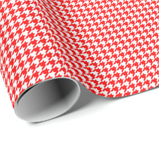 Small Red and White Houndstooth Wrapping Paper