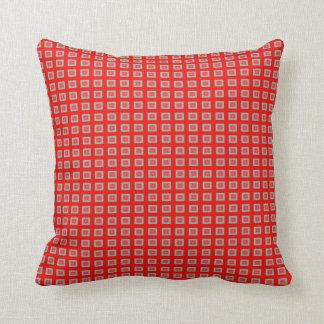 Small Red/Aqua Tile design  >Throw Pillows