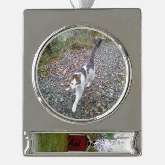 Small red building silver plated banner ornament