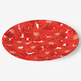 Small red flowers paper plate