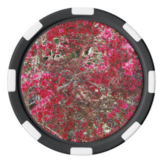 Small Red Flowers Set Of Poker Chips