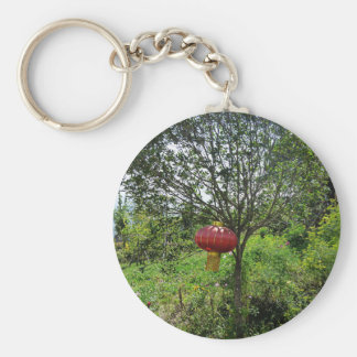 Small Red Lantern Basic Round Button Key Ring