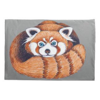 Small Red Panda on Grey Pillowcase