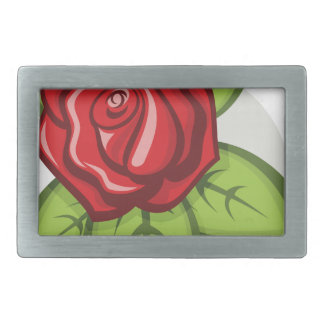 Small Red Rose Rectangular Belt Buckle