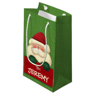 SMALL Red Santa with Green Mittens Small Gift Bag