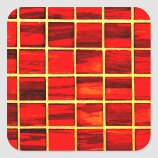 Small Red Tiles Background Square Stickers