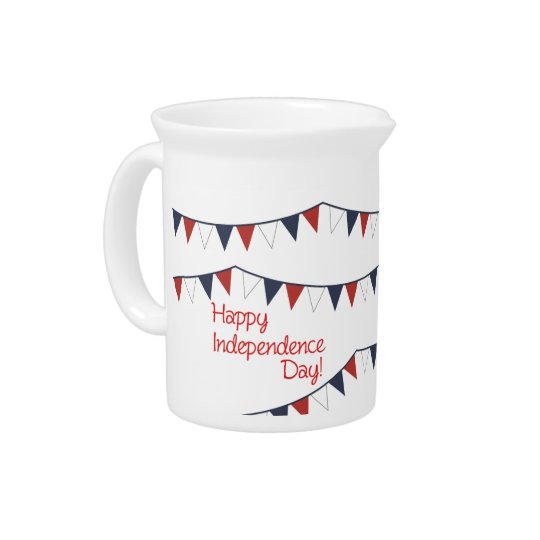 Small Red White Blue Patriotic Bunting Jug Beverage Pitcher