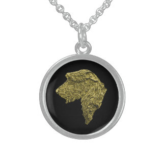 Small Round Stirling Silver Necklace (Gold/Black)