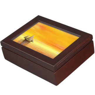 Small sailboat - 3D render Keepsake Box